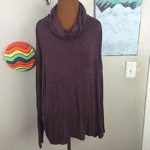 CABI purple cowl neck long sleeve top